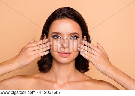 Close Up Photo Beautiful She Her Lady Smearing Balm Facial Skin Healthy Laser Method Say No Plastic