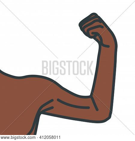 Weak Male Arms With Flexed Biceps Muscles