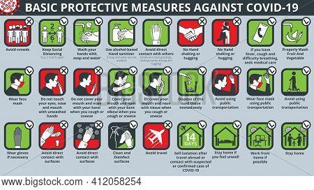Basic Protective Measures Against Coronavirus Disease Covid-19 Icon Set