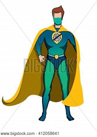 Superhero In Yellow Cape And Protective Face Mask