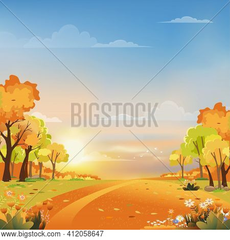 Autumn Landscape Wonderland Forest With Grass Land, Mid Autumn Natural With Maples Leaves Falling In