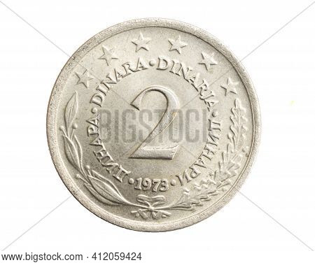 Yugoslavia Two Dinars Coin On White Isolated Background