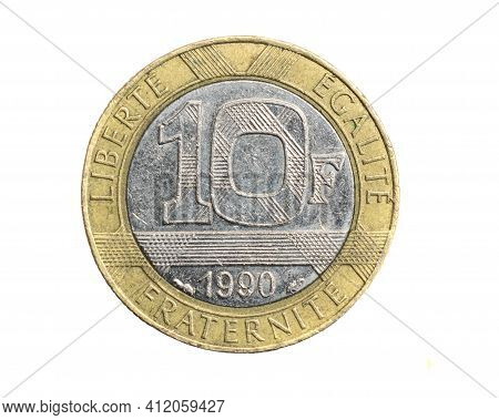 France Ten Francs Coin On A White Isolated Background