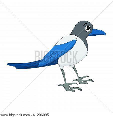 Magpie Bird Cartoon Illustration. Standing Crow Animal Ornithology Design. Vector Clip Art Isolated