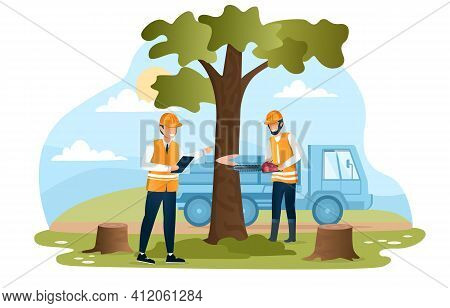 Male Character In Workwear Cutting Tree With A Chainsaw. Man In Uniform With Clipboard Is Checking O