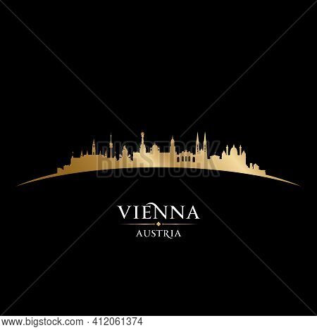 Vienna Austria City Silhouette Black Background