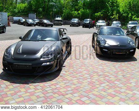 Kiev, Ukraine - May 14, 2011: Black Supercars Porsche 911 (997) Turbo Techart Gt Street And Porsche