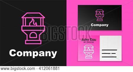 Pink Line Brick Stove Icon Isolated On Black Background. Brick Fireplace, Masonry Stove, Stone Oven