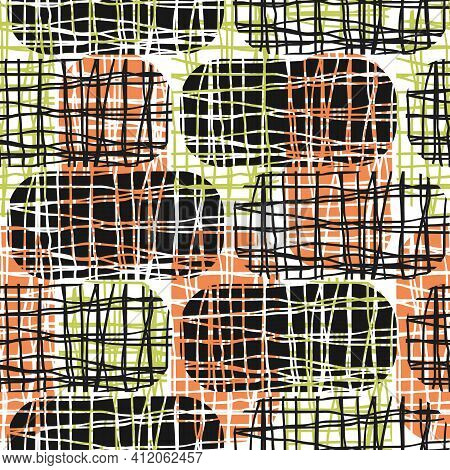 Vector Rectangles With Irregular Burlap Effect. Red Green Black Seamless Pattern Background. Rounded
