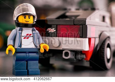 Tambov, Russian Federation - October 18, 2019 Lego 1970 Dodge Charger R/t Driver Minifigure Standing
