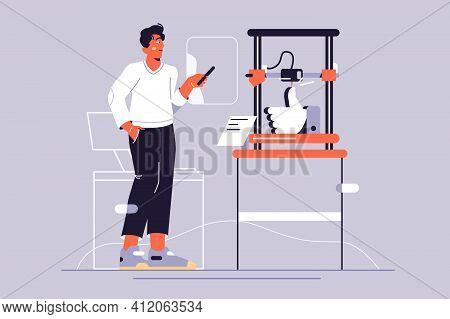 Young Guy Printing Prototype Using 3d Printer Vector Illustration. Engineer Holds Tablet In Hand Wit