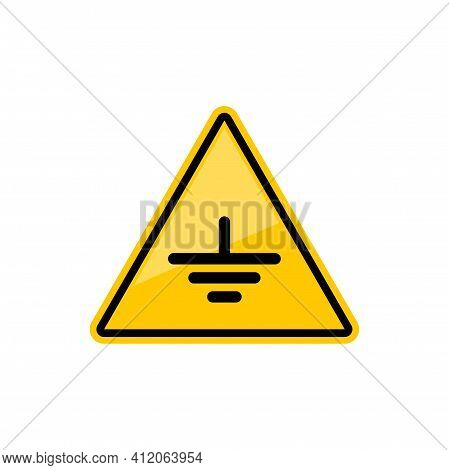 Warning Connect Earth Terminal To Ground Isolated Hazard Triangle Sign. Vector Yellow Triangular Sym