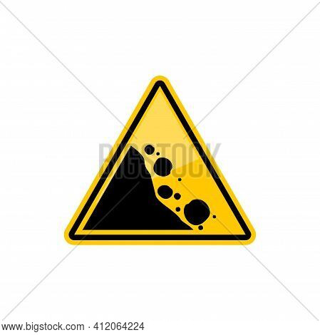Road Warning Sign Falling Black Stones In Yellow Triangle Isolated Icon. Vector Rock Falling Area, M