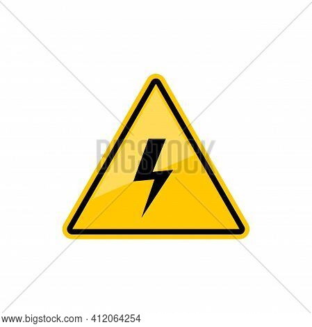 Electric Hazard Sign With Lighting Or Thunder Icon In Yellow Triangle. Vector High Voltage Sign, Cau