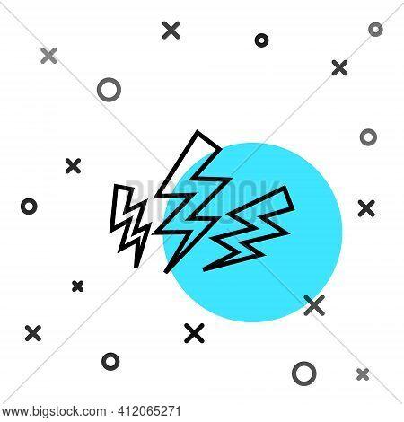 Black Line Zeus Icon Isolated On White Background. Greek God. God Of Lightning. Random Dynamic Shape