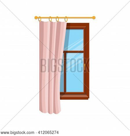 Pink Half Open Curtain On Wooden Window Isolated Home Interior Architecture. Vector Window Treatment