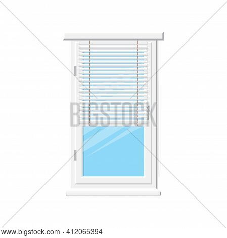Louvers Or Jalousie Interior Decor Element Isolated Window Shutters. Vector Office Interior Blinds,