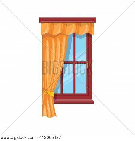 Sash Curtains With Rods Isolated Drapes Or Shades. Vector Tab Top And Sash Curtains With Rods And Va