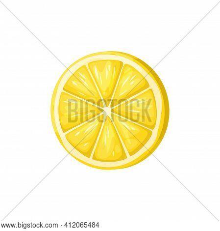 Half Of Lemon Isolated Yellow Citrus Fruit. Vector Ripe Sour Fruit In Zest, Organic Exotic Lemonade