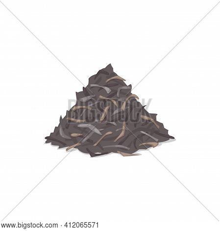 Pile Of Dried Tea Leaves Isolated Icon. Vector Heap Of Black, Green, Herbal Or Floral Tea Leaves, Na