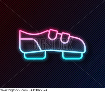 Glowing Neon Line Triathlon Cycling Shoes Icon Isolated On Black Background. Sport Shoes, Bicycle Sh
