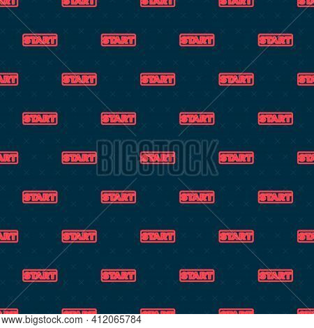 Red Line Ribbon In Finishing Line Icon Isolated Seamless Pattern On Black Background. Symbol Of Fini