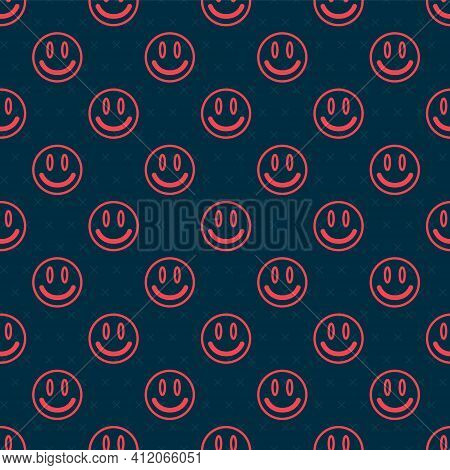 Red Line Smile Face Icon Isolated Seamless Pattern On Black Background. Smiling Emoticon. Happy Smil