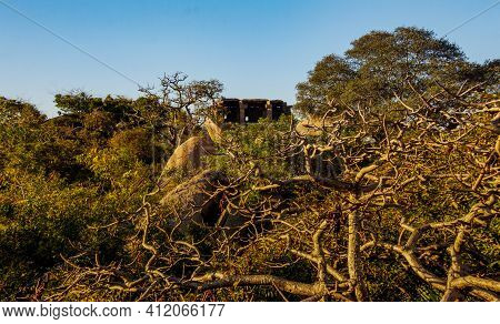 View Of An Old Shed Made Out Of Rocks In The Old Port City, Mahabalipuram, Tamil Nadu, India. Focus