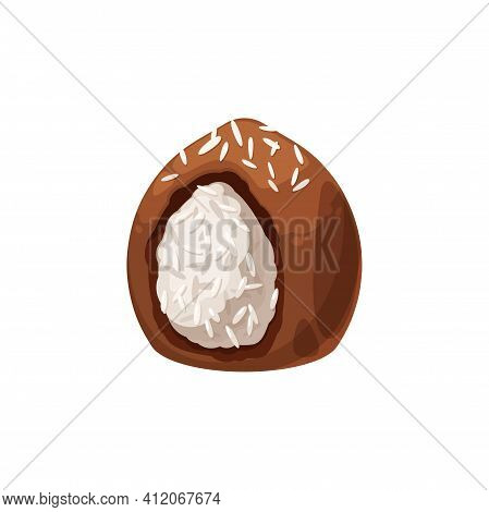 Coconut Chocolate Candy Isolated Sweet Food. Vector Tasty Dessert, Sweets With Coco Sprinkles, Confe