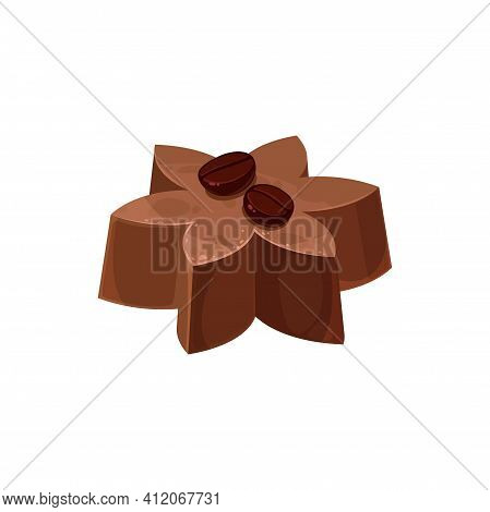 Flower Shape Chocolate Candy With Coffee Beans Isolated Sweet Food Dessert. Vector Homemade Realisti