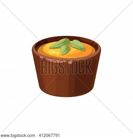 Chocolate Candy With Three Green Nuts Isolated Tasty Food. Vector Sweets With Jelly Cream And Cashew