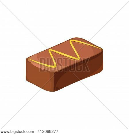 Candy With Candied Roasted Nuts Isolated Rectangular Candy Top View. Vector Sweet Holiday Treat In R