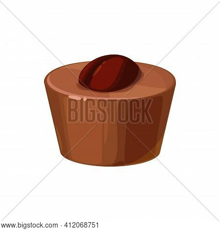 Praline Confection Isolated Sweet Food Snack With Brown Coffee Bean. Vector Milk And Dark Chocolate