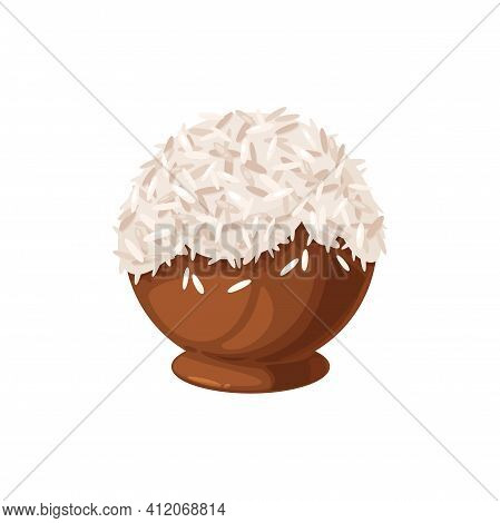 Coconut Chocolate Candy In Shape Of Ball Isolated Sweet Food. Vector Homemade Chocolate Treat With E