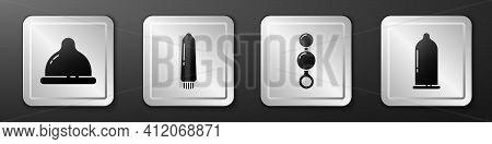 Set Condom, Dildo Vibrator, Anal Beads And Condom Icon. Silver Square Button. Vector