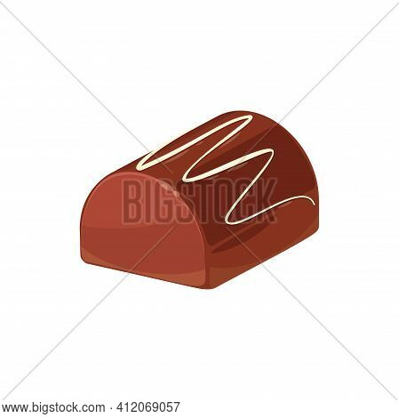 Chocolate Candy With Praline And Ganache Filling Isolated Food. Vector Candy With Praline And Ganach