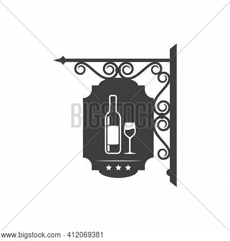 Signboard With Bottle Of Wine And Glass, Bar Retro Sign Isolated. Vector Wine Bar Metal Signboard Wi