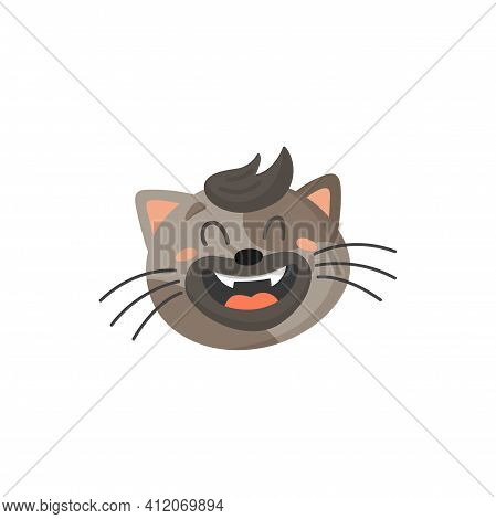 Cute Laughing Cat With Forelock Isolated Home Pet Emoticon. Vector Striped Gray Cat With Open Mouth