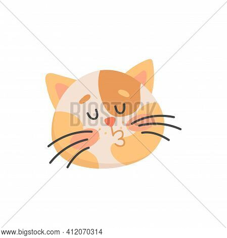 Cat Making Kiss Isolated Feline Animal Portrait. Vector Head Of Cute Kitten, Kissing Sign, Cartoon K