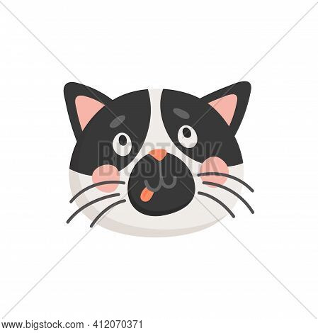 Snout Of Black And White Cat Isolated Head Portrait. Vector Puzzled Kitten Muzzle, Cartoon Funny Fel