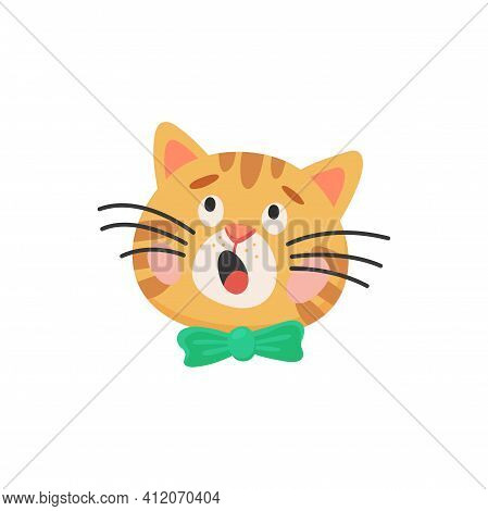 Surprised Curious Cat Head Isolated Kitten Face With Green Bow. Vector Portrait Of Puzzled Kitten In
