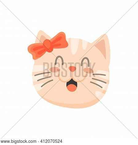 Happy Kitty Girl With Bow On Head Isolated Cute Pink Kitten Portrait. Vector Female Cat With Open Mo