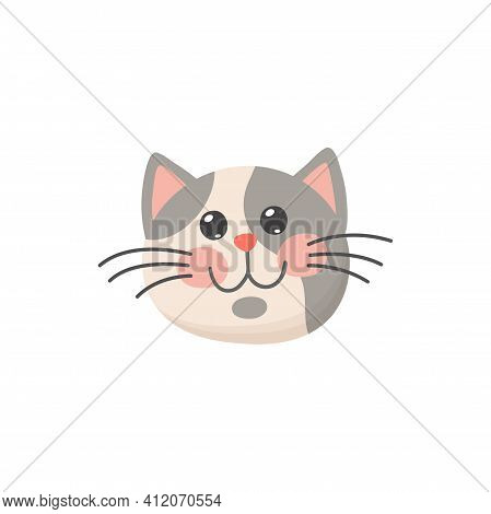 Curious Cat Head Isolated Kitten Face In Cartoon Style. Vector Snout Of Grey And White Cat Portrait.