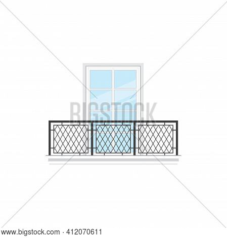 Home Facade Balcony With Window And Metal Balustrade Or Railing Isolated Icon. Vector Balcony Of Hou
