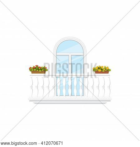 Italian Balcony, Fence With Pillars, Stone Balustrades And Flower Cachepots Isolated Window And Rail