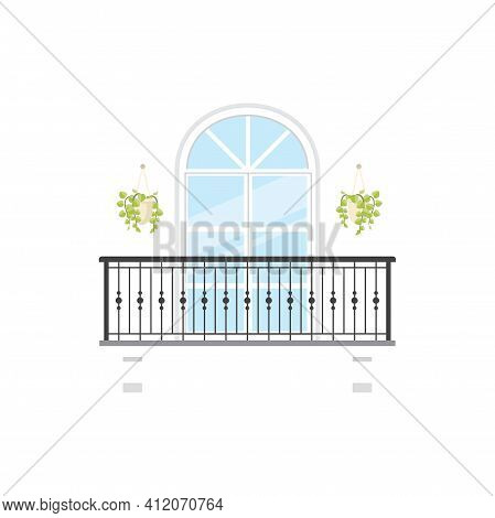 Arched Balcony With Flower Cachepots, Pillars And Forged Balustrades Isolated Facade Exterior Constr