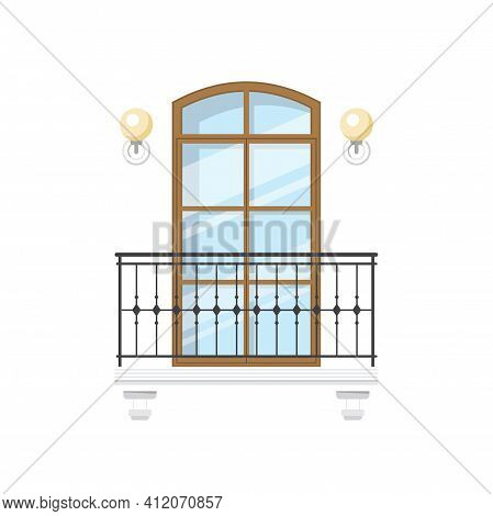 Retro Balcony With Metal Fence And Wall Lamps Isolated. Vector House Architecture Element, Forged Ba