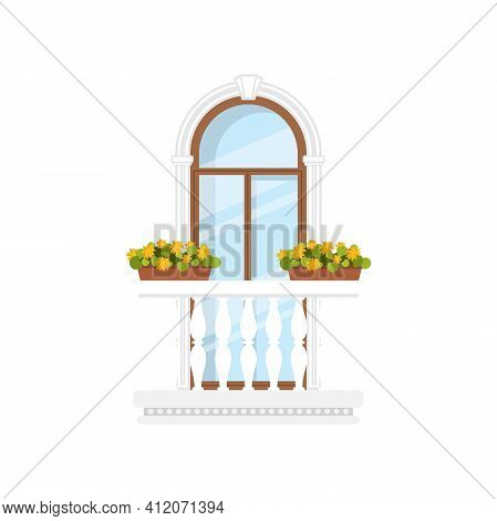Balcony With Marble Railings, Flower Pots Isolated In Pots. Vector Window At Balcony, Floral Decor A