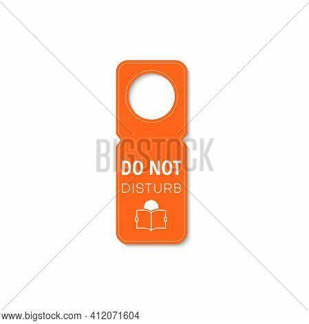 Tag Do Not Disturb With Reading Book Icon. Vector Sign On Doorknob At Library, Studying Learning And