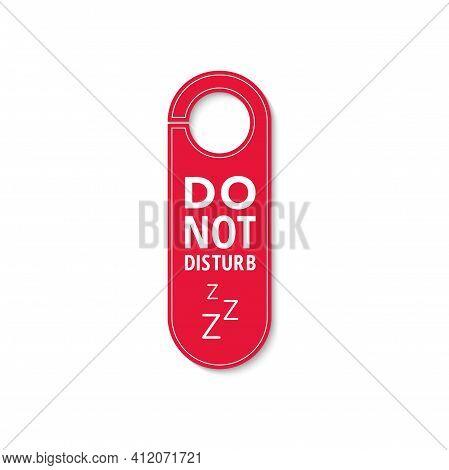 Do Not Disturb, Keep Quiet Door Hanger With Zzz Sign. Vector Door Hanger Tag, Plastic Label With Pro